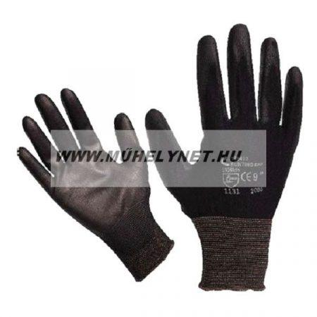 Kötött kesztyű fekete nylon, kesztyű 8'poliuretánba mártot Cerva