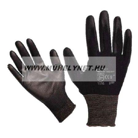 Kötött kesztyű fekete nylon, kesztyű 9'poliuretánba mártot Cerva