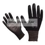 Kötött kesztyű fekete nylon, kesztyű 10'poliuretánba mártot